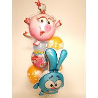 Букет из воздушных шаров с Нюшей и Крошем, Смешарики