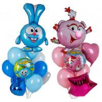 Фонтан из шаров Смешарики Крош и Нюша в нежно-голубых и розовых тонах