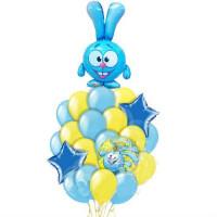 Букет из гелиевых шариков Смешарики заяц Крош со звездами в желто-голубой гамме