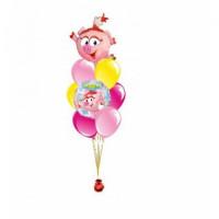 Фонтан из шаров Смешарики Нюша с розовыми и желтыми шарами