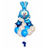 Фонтан из шаров Смешарики с кроликом Крошем