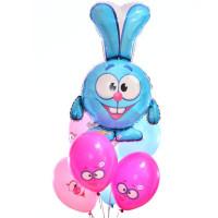 Букет из гелевых шариков Смешарики с персонажем мультфильма Крошем
