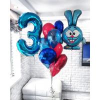 Набор шаров с гелием Смешарики заяц Крош на День Рождения с цифрой