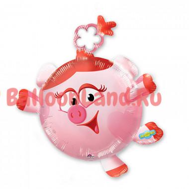 Фигурный шар м/ф Смешарики свинка Нюша