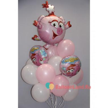 Букет из шаров Смешарики с Нюшей в нежно-розовых тонах