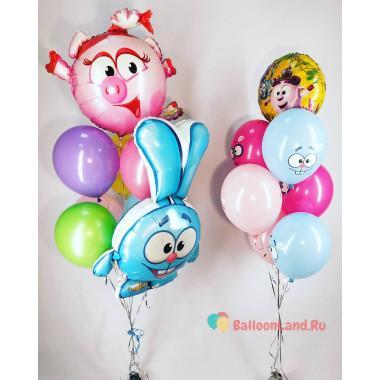 Композиция из гелевых шариков с героями мультфильма Смешарики Нюшей и Крошем