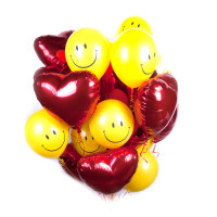 Букет из шаров с гелием Смайлики и сердца