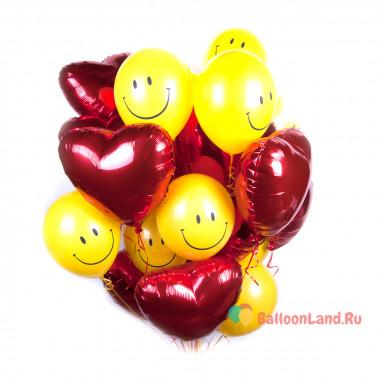 Букет из шариков с гелием Смайлики и сердца