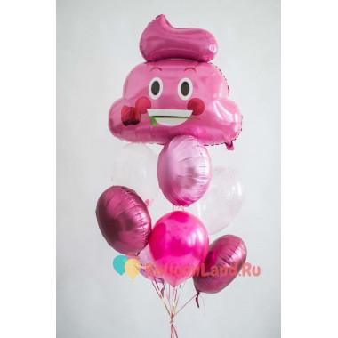 Букет воздушных шаров в розовой гамме со Смайликом