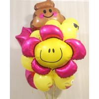 Букет воздушных шаров Смайлики с большим цветком
