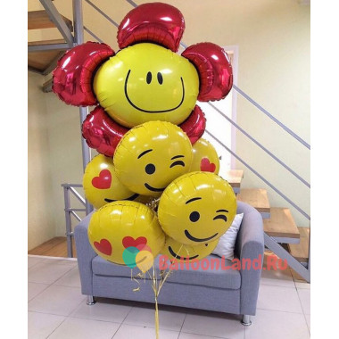 Букет фольгированных шариков Смайлики