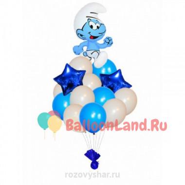 Букет из воздушных шариков со Смурфиком и звездами