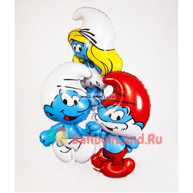 Букет из гелиевых шариков с героями мультфильма Смурфики