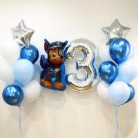 Композиция шаров с гелием на День Рождения Чейз с цифрой