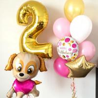 Сет шаров на День Рождения с щеночком и цифрой