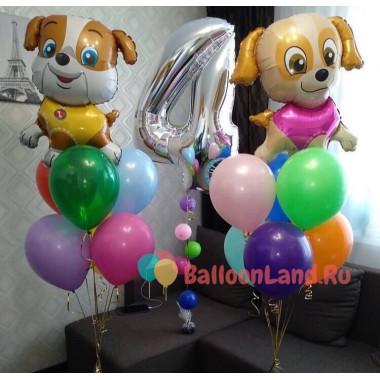 Набор гелиевых шаров на День Рождения Щенята с цифрой