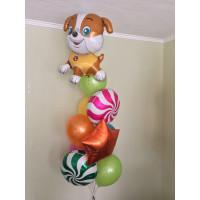 Фонтан воздушных шаров с собачкой