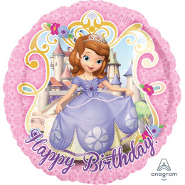Шар-круг Happy Birthaday (принцесса София)
