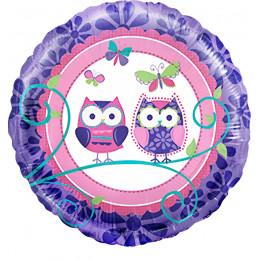 Шар-круг Две фиолетово-розовые совы