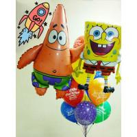 Композиция из гелиевых шаров ан День Рождения с мультперсонажами Патриком и Губкой Бобом