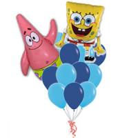 Букет гелевых шаров в сине -голубой гамме с Губкой Бобом и Патриком