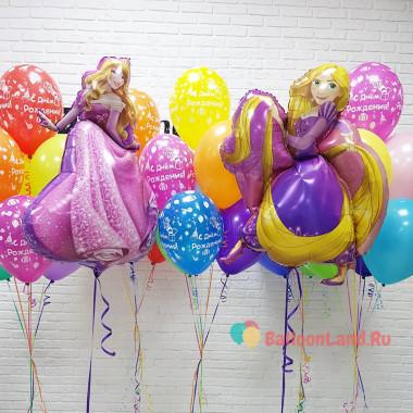 Композиция из гелиевых шаров Спящая красавица Принцесса Аврора и Принцесса Рапунцель