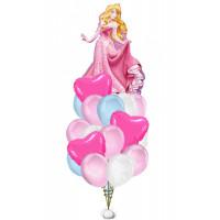Букет шаров Принцесса Аврора с сердцами