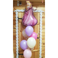 Фонтан из гелевых шариков Принцесса Аврора с шарами с конфетти