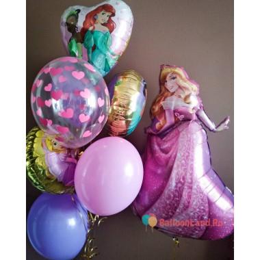Композиция из воздушных шаров Аврора Спящая красавица и другие принцессы Дисней
