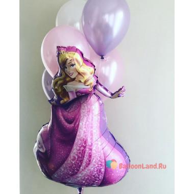 Букет гелевых шариков с Принцессой Авророй