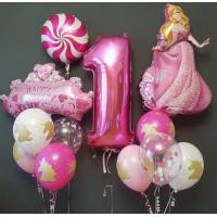 Композиция из гелевых шариков на годовасие девочки с Принцессой Авророй и единорогами
