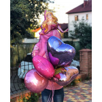 Букет гелевых шаров Спящая красавица с сердцами