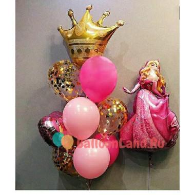 Композиция из гелевых шаров Спящая красавица Аврора с короной