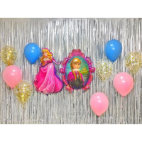 Композиция из шариков с гелием с героями Дисней Спящая красавица и Холодное сердце