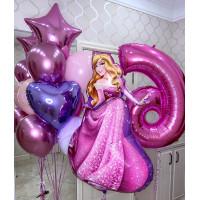 Композиция из гелиевых шаров на День Рождения со Спящей красавицей с цифрой