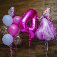 Композиция из шариков на День Рождения с Принцессой Авророй с цифрой