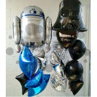 Композиция из шариков Дарт Вейдер, Робот со звездами и сердцем с поздравлениями