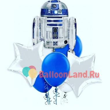 Букет шариков с гелием Робот со звездами