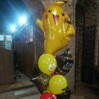 Букет шариков на День Рождения с Пикачу, звездами и смайлами