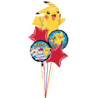 Букет гелиевых шаров с персонажами м/ф Покемоны с красными звездами
