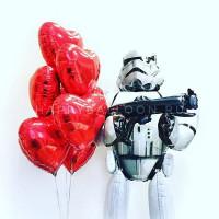 Композиция из шаров Клон с красными сердцами