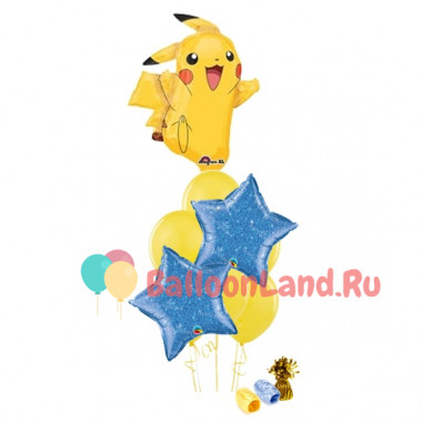 Букет гелиевых шаров с Покемоном Пикачу с синими звездами