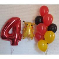 Композиция из шариков Покемон Пикачу с цифрой и букетом шаров