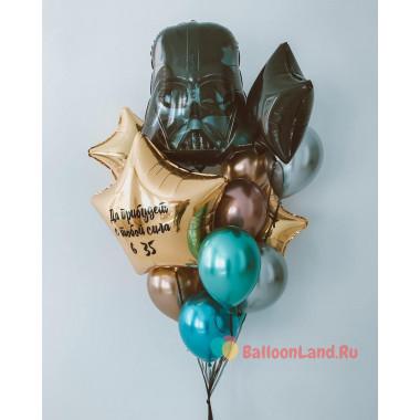 Букет из гелиевых шариков хром с Дартом Вейдером и звездами