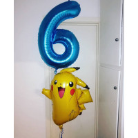 Набор воздушных шаров Покемон Пикачу и цифра