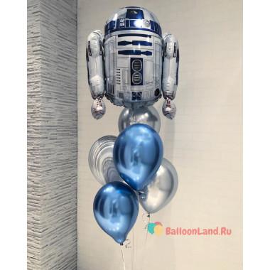 Букет шаров хром с Роботом