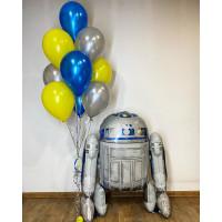 Композиция из шариков с гелием с ходячей фигурой робота R2D2