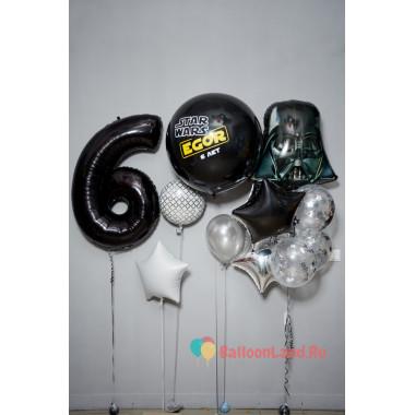 Композиция из гелевых шариков Звездные войны с Дартом Вейдером, цифрой и персональными поздравлениями