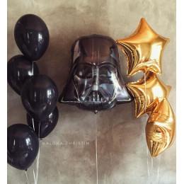 Сет из воздушных шаров Шлем Дарта Вейдера с золотыми звездами