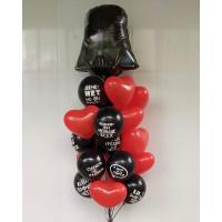 Букет из шаров с гелием с Дартом Вейдером, сердцами и юмористическими шарами